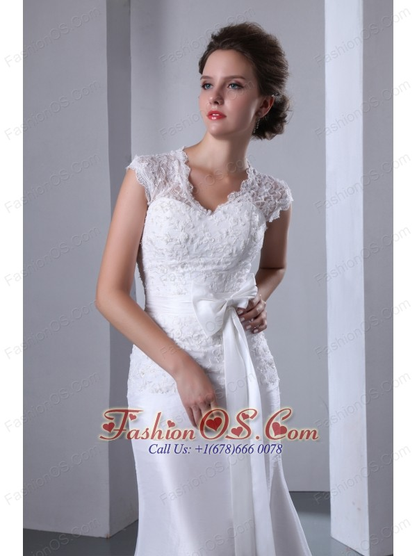 Fashionable Column V-neck Wedding Dress Appliques Bow Brush Train Elastic Wove Satin