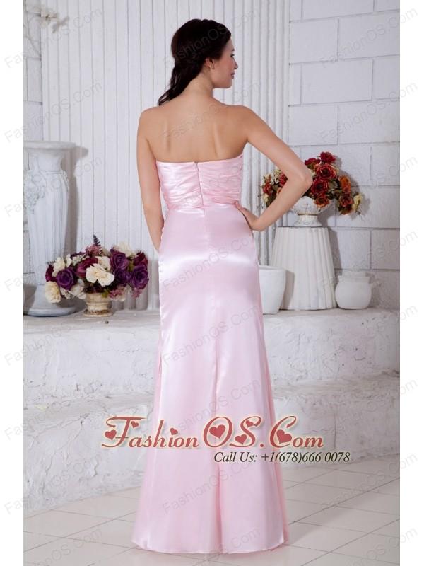 Light Pink Empire Strapless Beading Bridesmaid Dress Floor-length Elastic Woven Satin