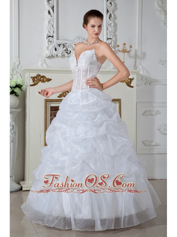 Low Price Ball Gown Sweetheart Wedding Dress Embroidery Floor-length Organza