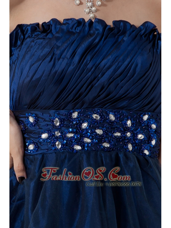 Navy Blue A-line / Princess Strapless Cocktail DressK Beading nee-length Organza
