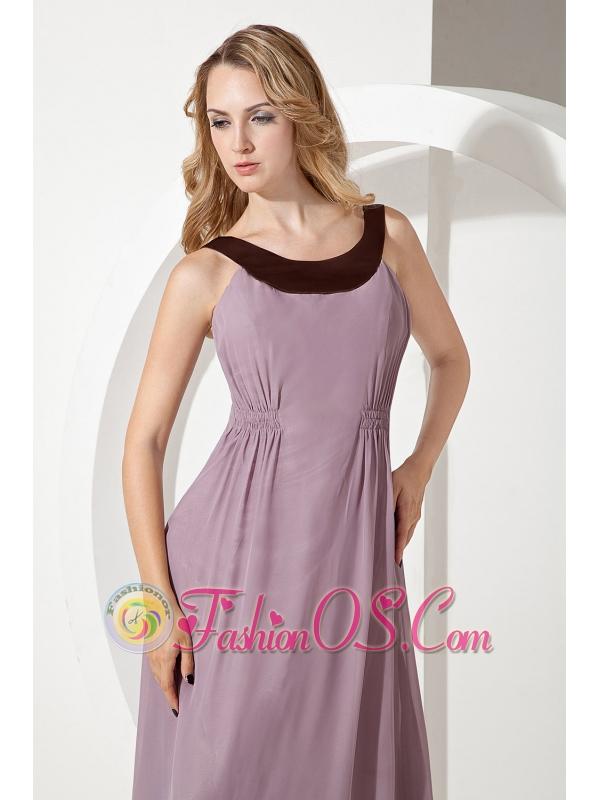 Purple Empire Scoop Bridesmaid Dress Brush Train Chiffon
