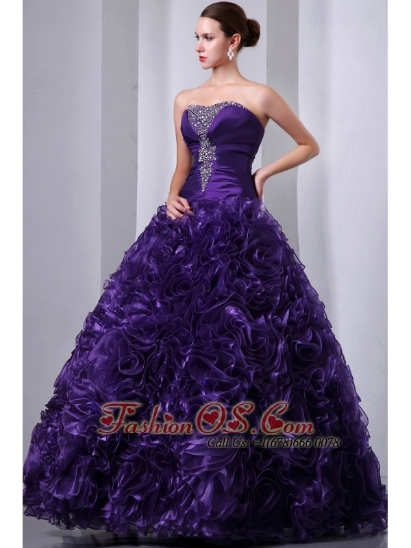 Purple A-Line / Princess Beading and Hand Made Flowers Quinceanea Dress Strapless Floor-length Organza