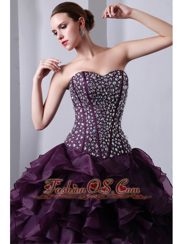 Dark Purple A-Line / Princess Sweetheart Beading and Ruffles Quinceanera Dress Brush Train Organza
