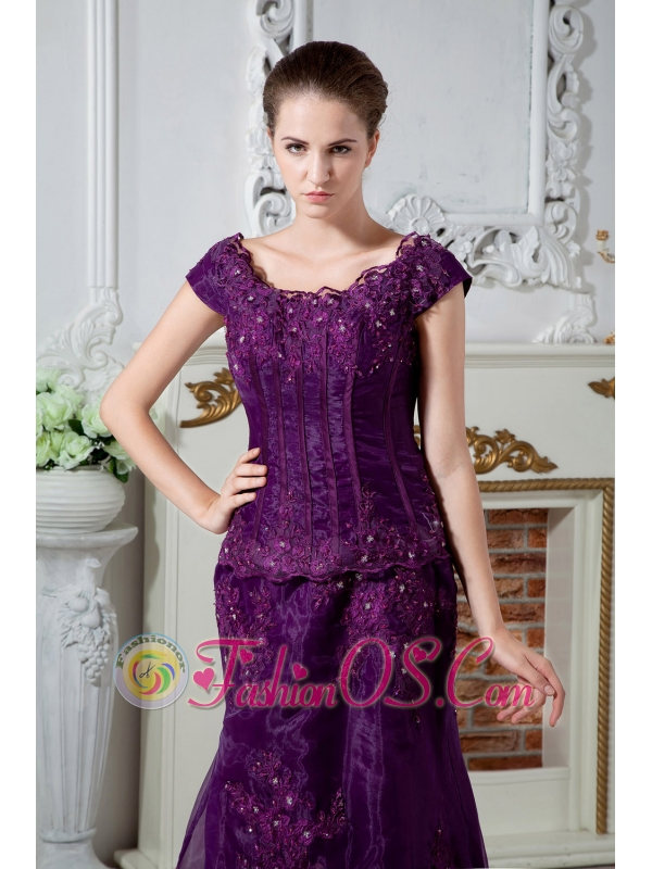 Eggplant Purple A-line Scoop Appliques and Beading Mother Of The ...