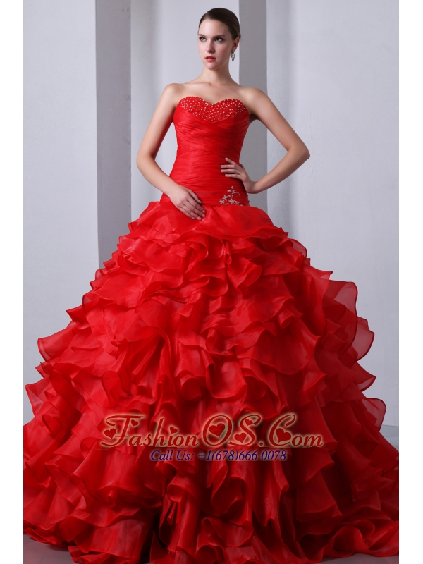 Red A-Line / Princess Sweetheart Beading and Ruffles Quinceanea Dress Brush Train Organza