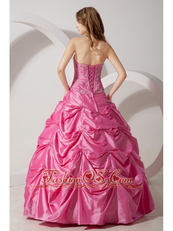 Rose Pink A-line Strapless Appliques Quinceanera Dress Floor-length Taffeta