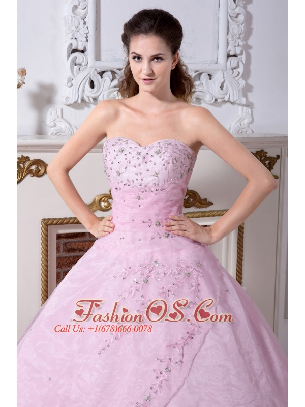 c19702dd7e Rose Pink Quinceanera Dress A-line   Princess Sweetheart Organza Embroidery  Floor-length