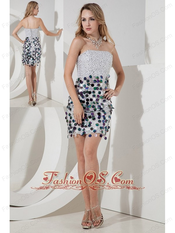Gray Column Strapless Mini-length Sequin Sequins Prom Dress