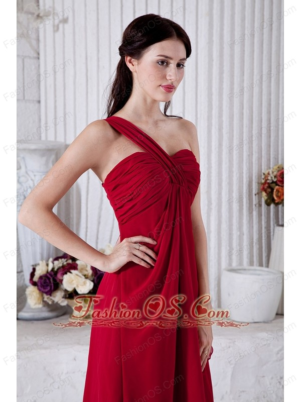 Wine Red Empire One Shoulder Bridesmaid Dress Mini-length Chiffon Ruch