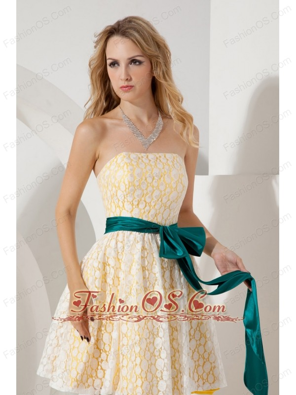Yellow A-line / Princess Strapless Bridesmaid Dress Mini-length Lace Sashes
