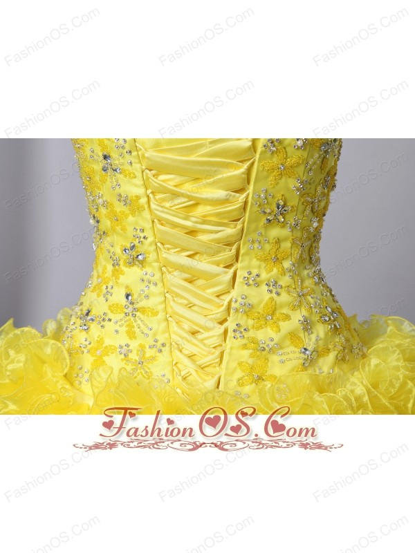 Yellow A-Line / Princess Sweetheart Beading and Ruffles Quinceanea Dress Brush Train Organza