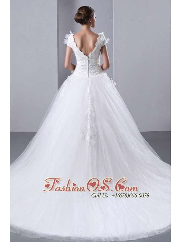 Beautiful A-line Scoop Appliques and Hand Made Flowers Wedding Dress Cathedral Train Taffeta and Tulle