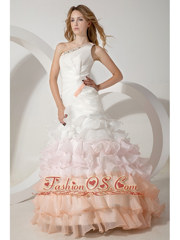 Colorful A-line One Shoulder Wedding Dress Brush Train Organza Beading