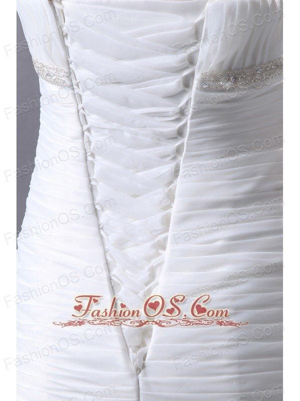 Fashionbale Wedding Dress Mermaid Beading and Ruffles Strapless Court Train Organza