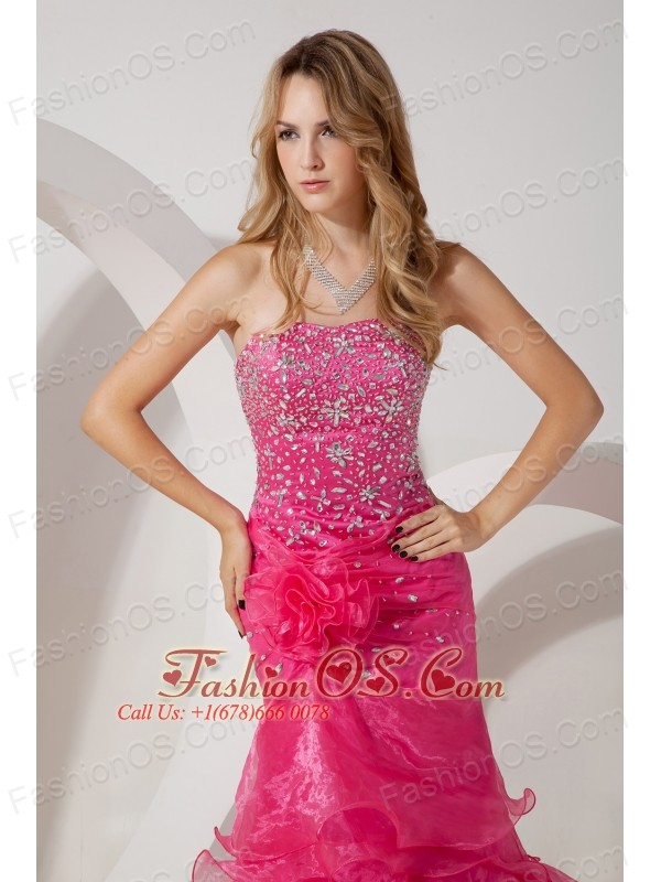 Hot Pink Mermaid Strapless Brush Ruffles Train Prom / Evening Dress ...