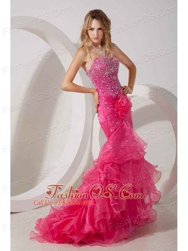 Hot Pink Mermaid Strapless Brush Ruffles Train Prom / Evening ...