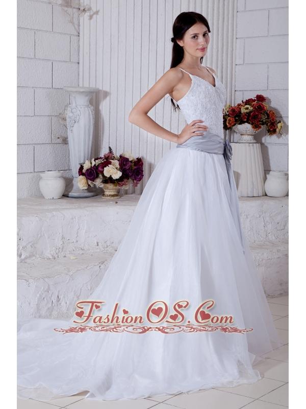 Modest A-line Straps Sashes Wedding Dress Court Train Organza