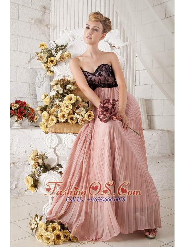 Peach Chiffon Pleated Prom Dress Covered with Black Lace- $143.26