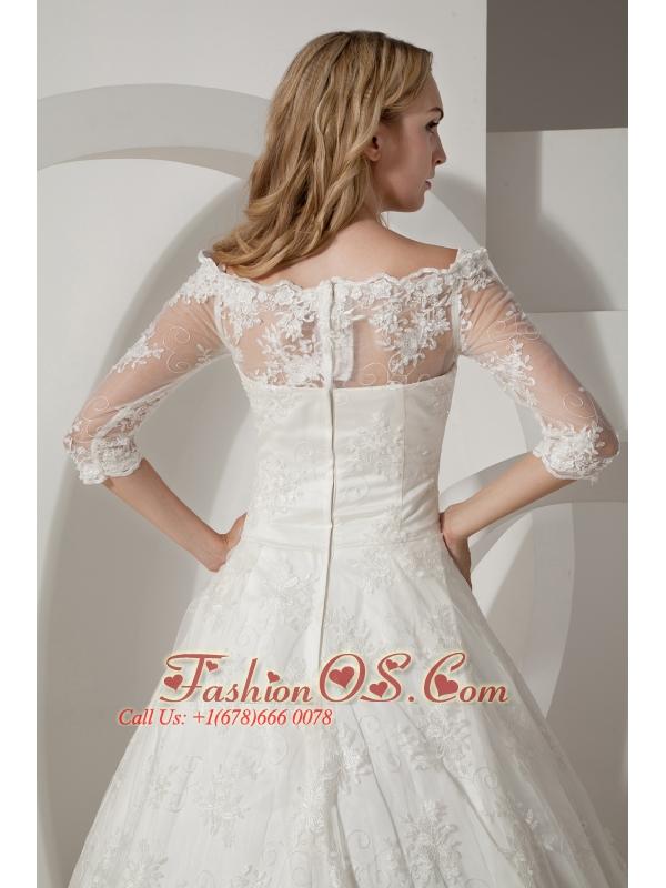 Perfect A-line Bateau Wedding Dress Chapel Train Taffeta and Lace
