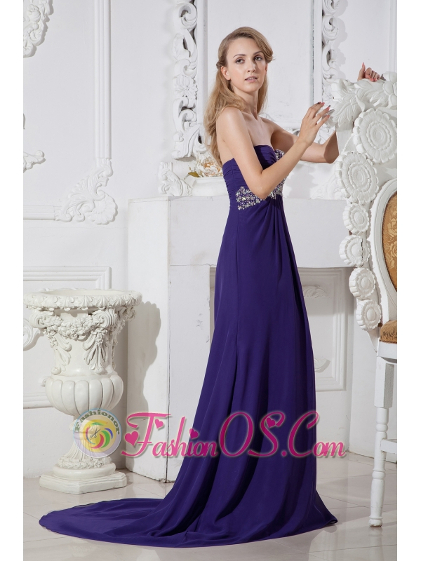 Purple Color Sweetheart Prom Dress with Elegant Beading- $149.45