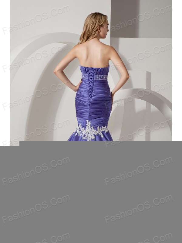 Purple Mermaid Sweetheart Wedding Dress Court Train Elastic Wove Satin Appliques