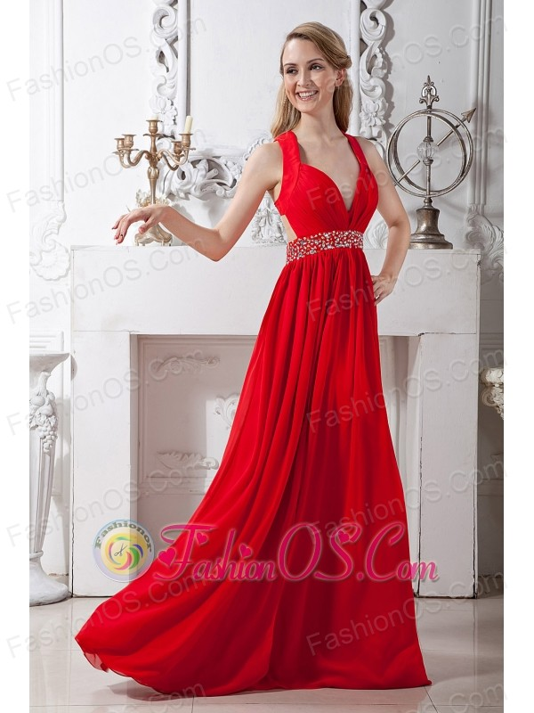 Red V-neck Corset Back Chiffon Prom / Homecoming Dress with Beading