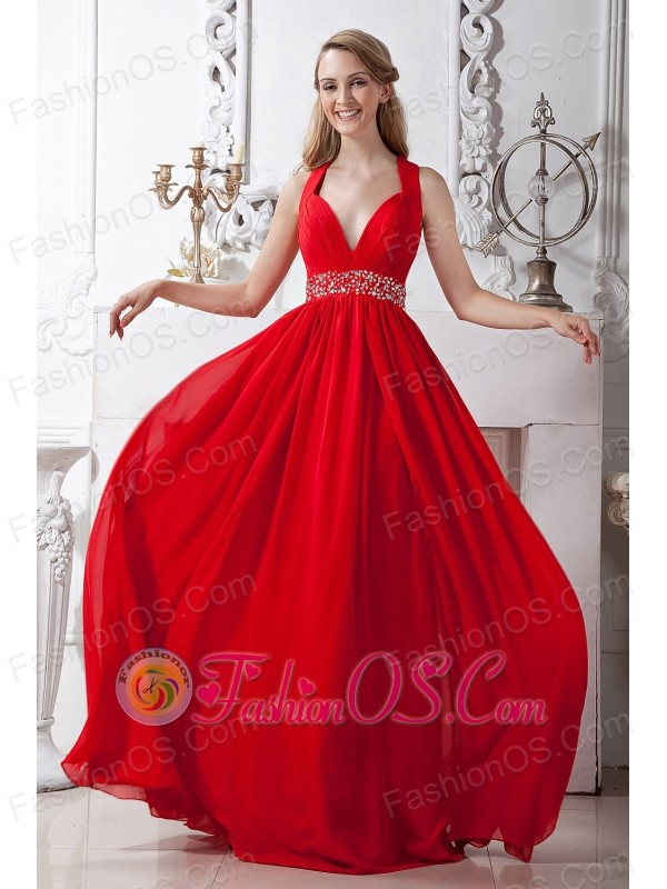 Red V-neck Corset Back Chiffon Prom / Homecoming Dress with ...