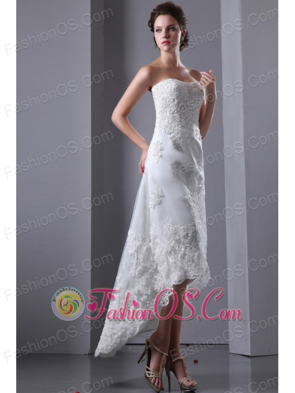 Sexy Column Strapless Short Wedding Dress High-low Elastic Wove Satin and Lace