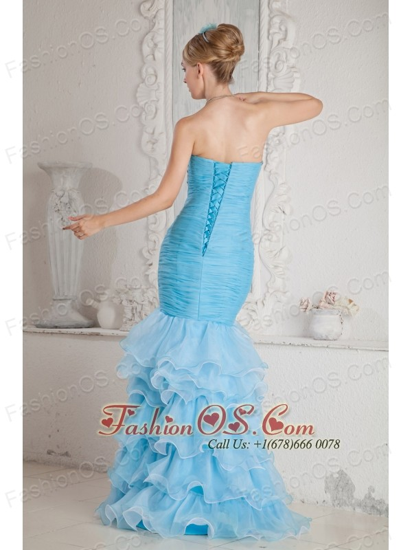 Sky Blue Mermaid High-low Split Prom Dress with Ruffles and Beading