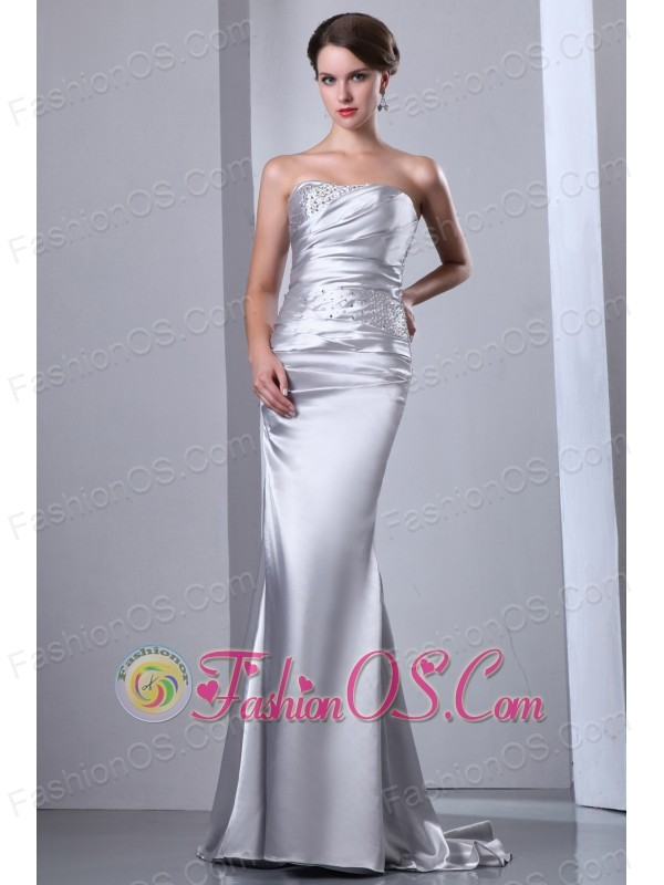 Silver Wedding Dress Column Strapless Beading Brush Train Elastic Wove Satin