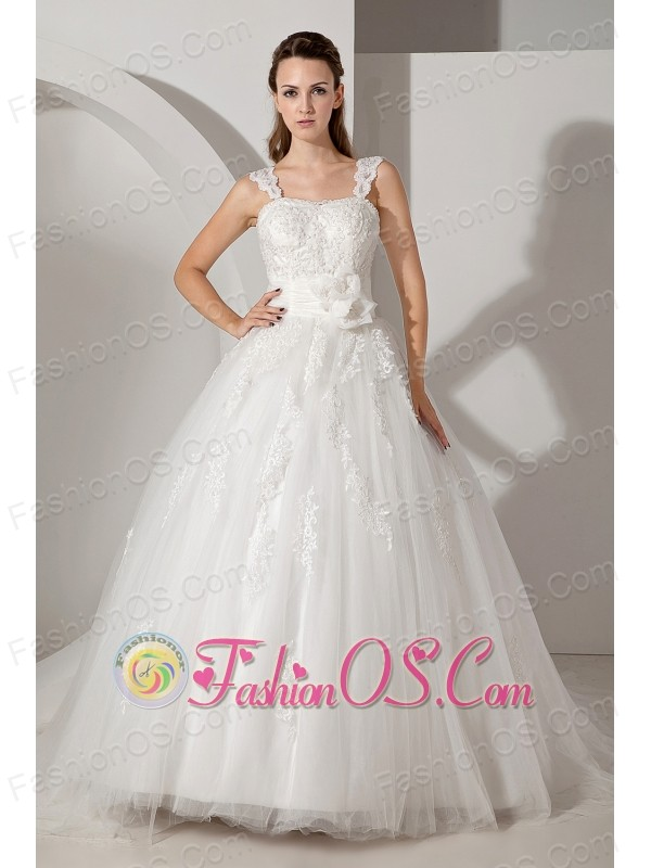 Sweet A-line Straps Wedding Dress Appliques Court Train Tulle and Taffeta