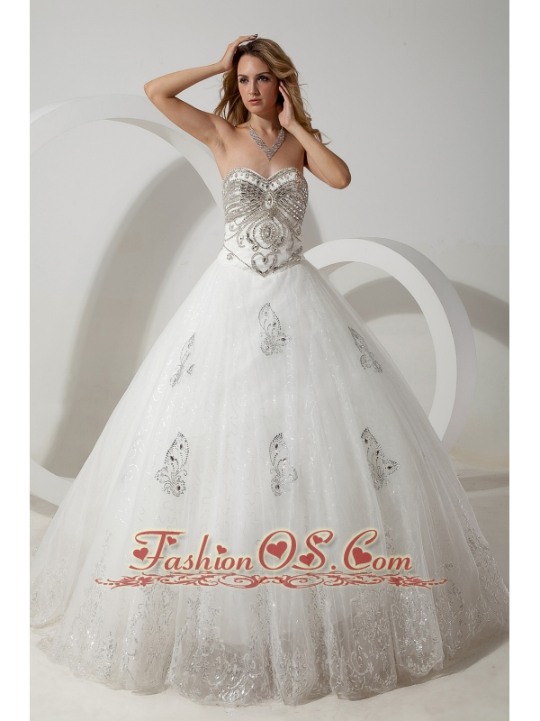 The Super Hot Wedding Dress Ball Gown Sweetheart Beading Court Train Organza