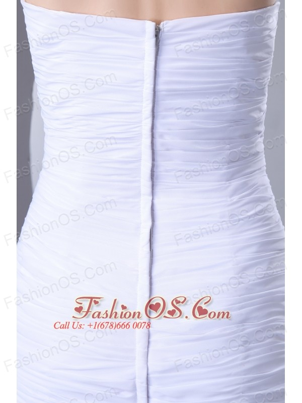 White Column Sweetheart Beading Wedding Dress Brush Train Chiffon
