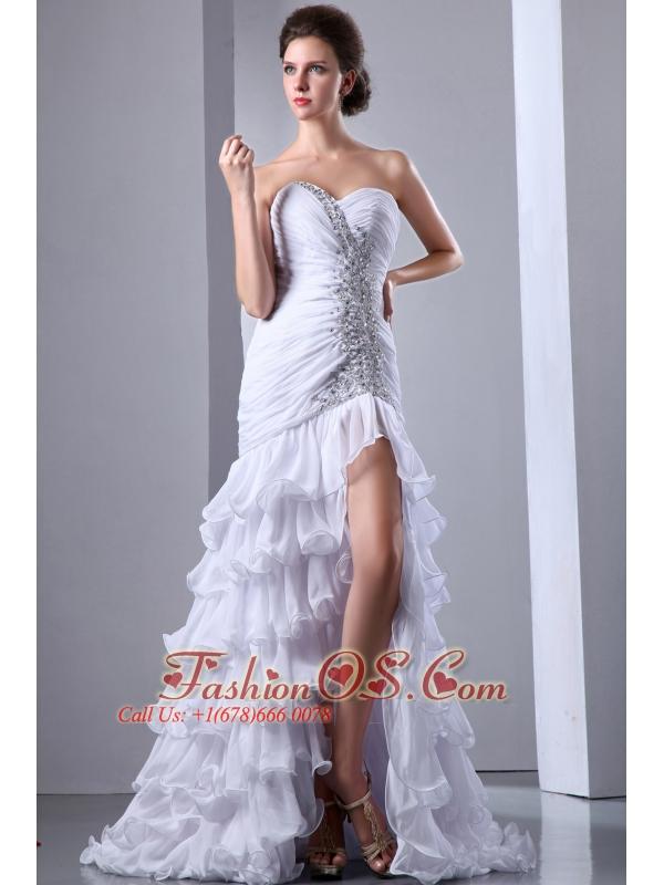 White Column Sweetheart Beading Wedding Dress Brush Train Chiffon