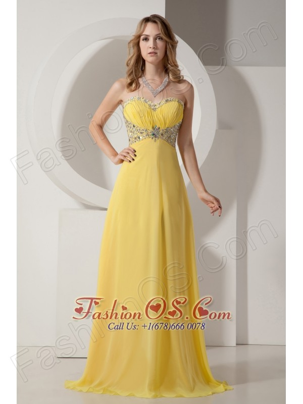Beautiful Yellow Sweetheart Chiffon Prom Dress with Silver Beading ...