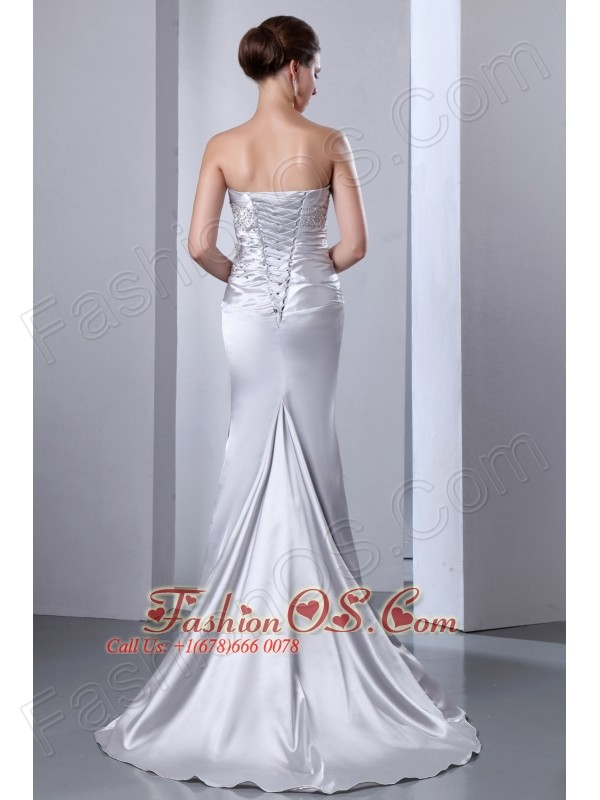 Gorgeous Silver Strapless Elastic Wove Satin Mermaid Prom Dress