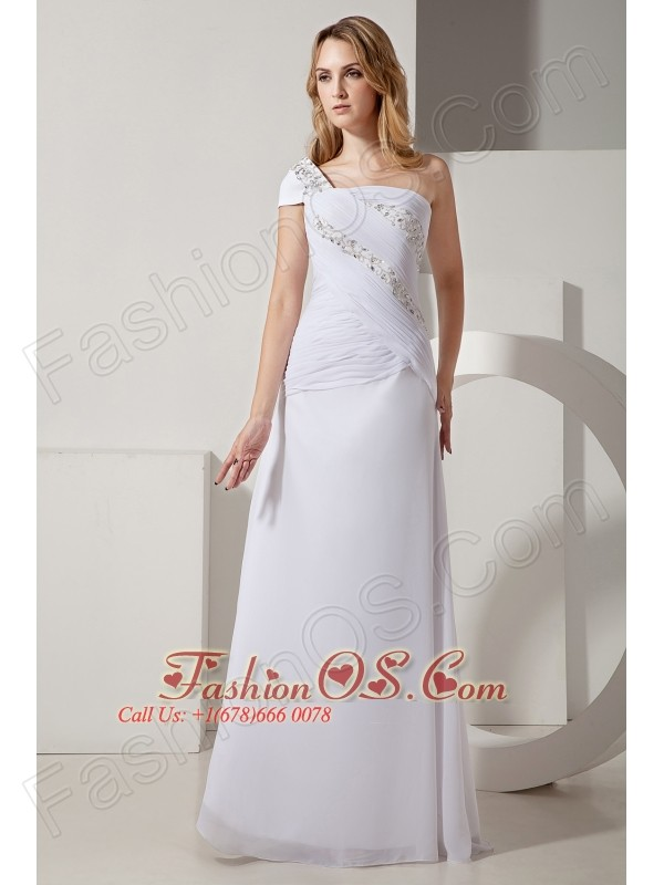 Simple One Shoulder Chiffon Zipper Up Back Prom Dress