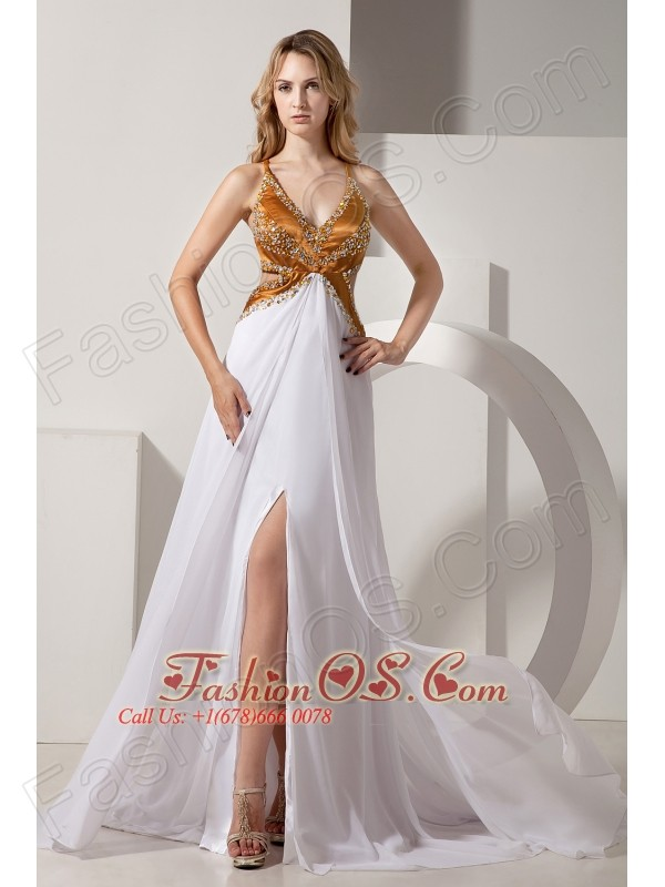 White and Gold V-neck Prom / Evening Dress Coset Back Satin and ...