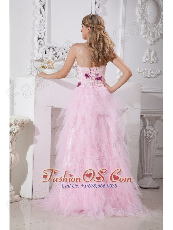 Baby Pink Prom Dress A-line Sweetheart Brush Train Taffeta and Tulle Appliques