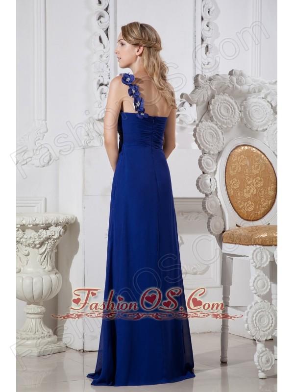 Blue Column One Shoulder Prom Dress Hand Made Flowers Floor-length Chiffon