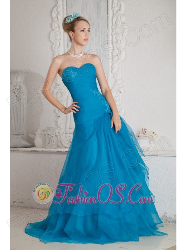 Low Price Teal Color Mermaid Prom Dress Sweetheart  Brush Train Appliques