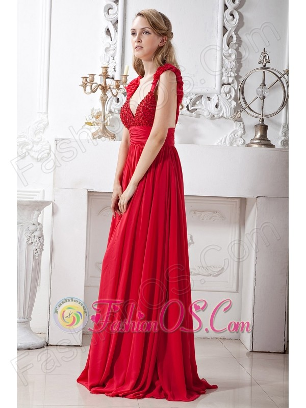 Red A-line V-neck Beading Prom Dress Brush Train Chiffon