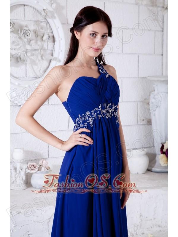Royal Blue Empire One Shoulder Prom / Evening Dress Chiffon Appliques Floor-length