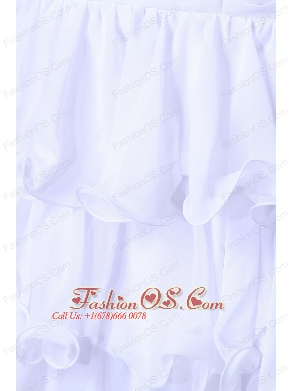 2013 White Sweetheart Chiffon Layers Prom Dress with Beading