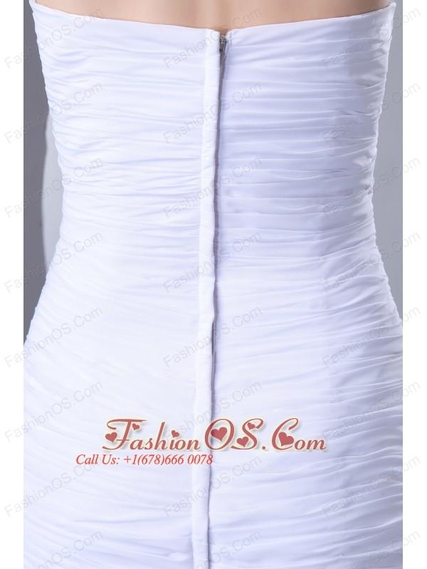 2013 White Sweetheart Chiffon Layers Prom Dress with Beading