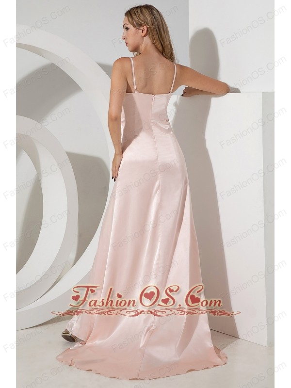 Baby Pink Empire Spaghetti Straps Prom Dress Brush Train Chiffon Beading