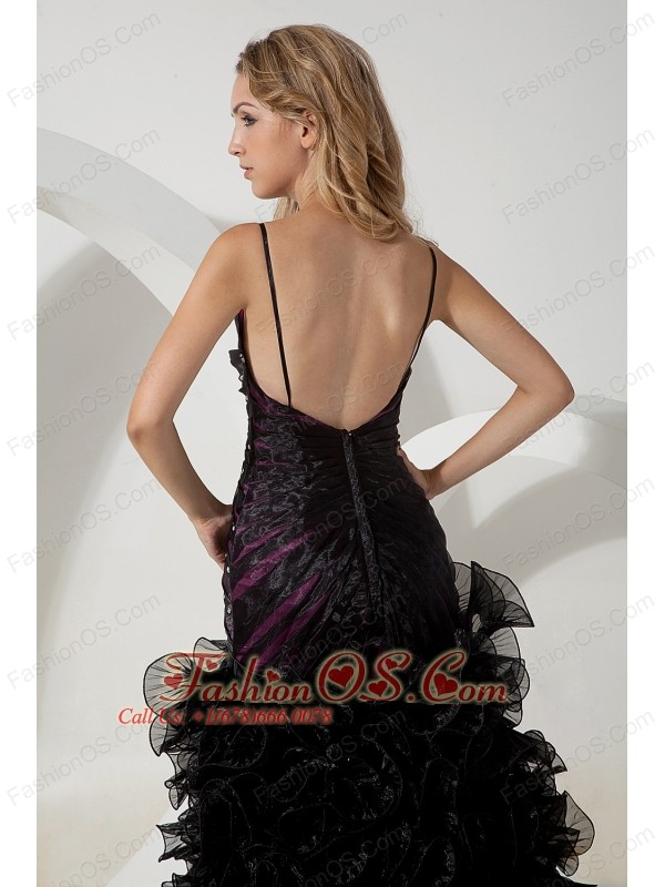 Black A-line Straps High-low Prom / Evening Dress Organza Beading