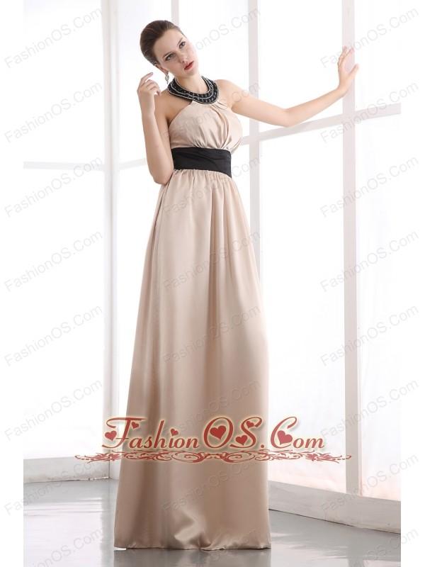 Champagne Junior Prom Dress Beading Column Halter Floor-length Taffeta