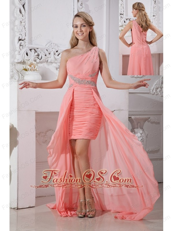 Cheap Watermelon Red High-low One Shoulder Prom Dress Column Chiffon Beading