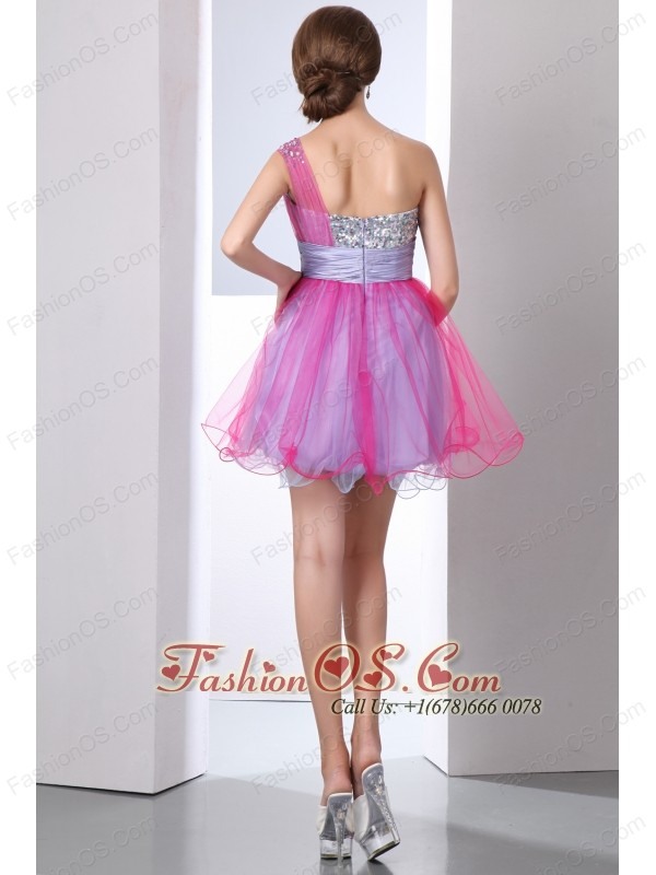 Hot Pink and Lilac A-line One Shoulder Beading Prom Dress Mini-length Organza